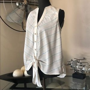 Anthropologie Maeve Button Up Sleeveless Tie Front